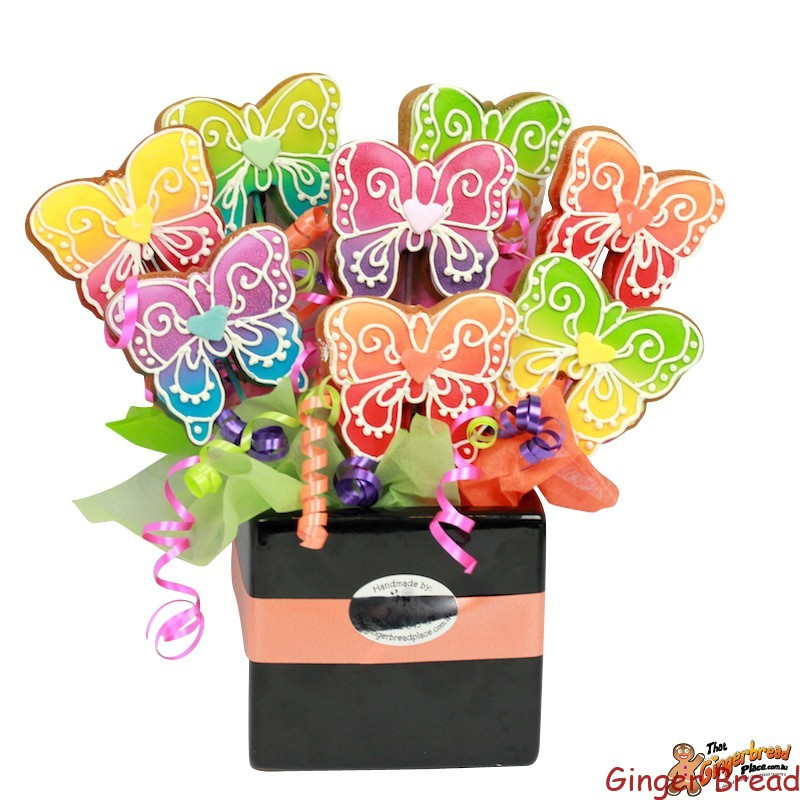 Watercolour Butterfly Cookie Bouquet Ideal For Unique Gifts