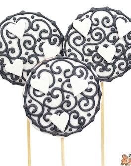 Black White Heart Cookie Pops
