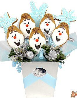 Cookie bouquet snowflakes and frozen