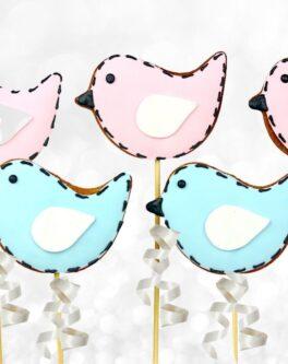Patchwork Bird Cookie Pops