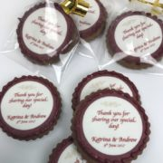Cookie bonbonniere for weddings customised with your thankyou message