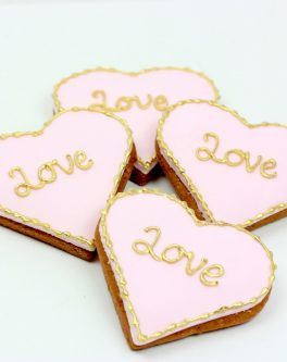 Golden love engagement cookie favours