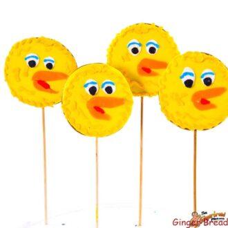Big Bird cookie pops