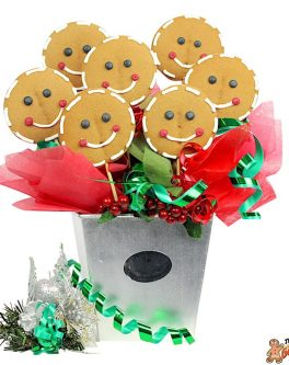 Smiley Christmas Cookie Bouquet