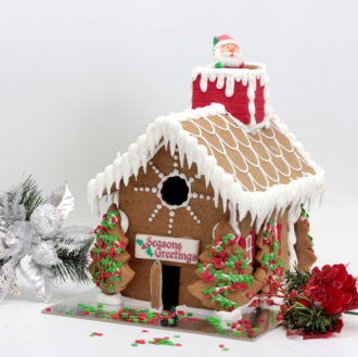 Noel Gingerbread House with santa and chimney