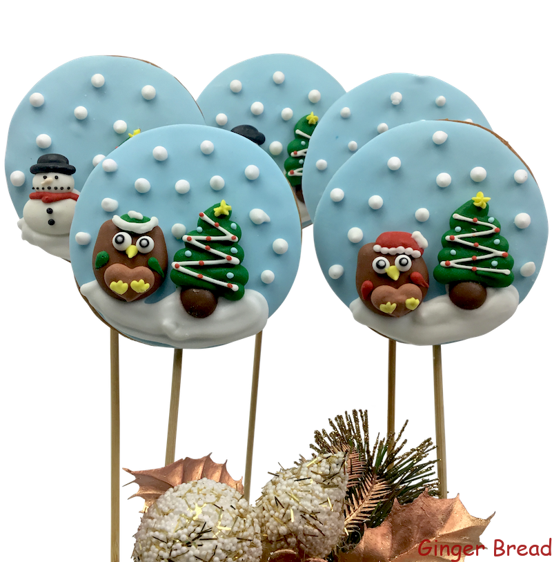 Christmas Snow Globe Cookie Pops Featuring Gingerbread Man