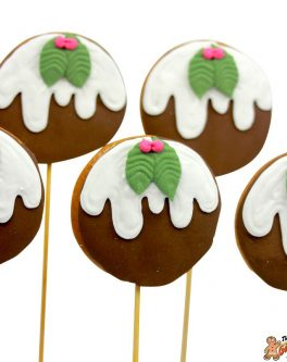 Christmas Pudding Cookie Pops