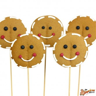 Gingerbread Face Cookie Pops