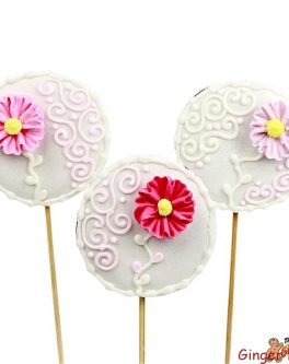 Piped Flower Cookie Pops