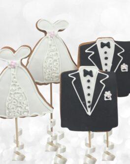Bride, Groom Cookie Pops