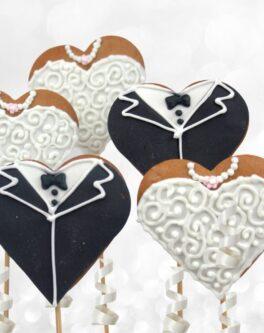 Heart Wedding Cookie Pops