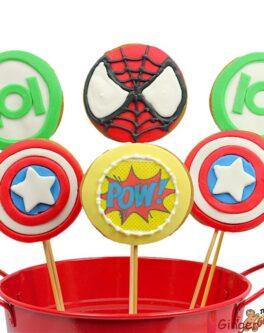 Super Hero Emblem Cookie Pops