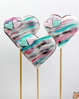 Watercolour Heart Cookie Pops