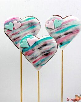 Watercolour Heart Cookie Pops