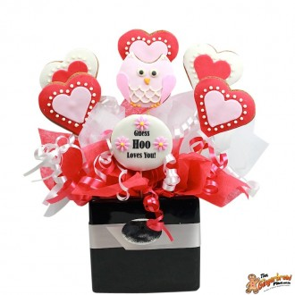 Cookie Bouquet owl and hearts