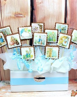 Square Logo Photo Cookie Bouquet