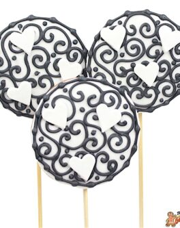 Black White Heart Cookie Pops