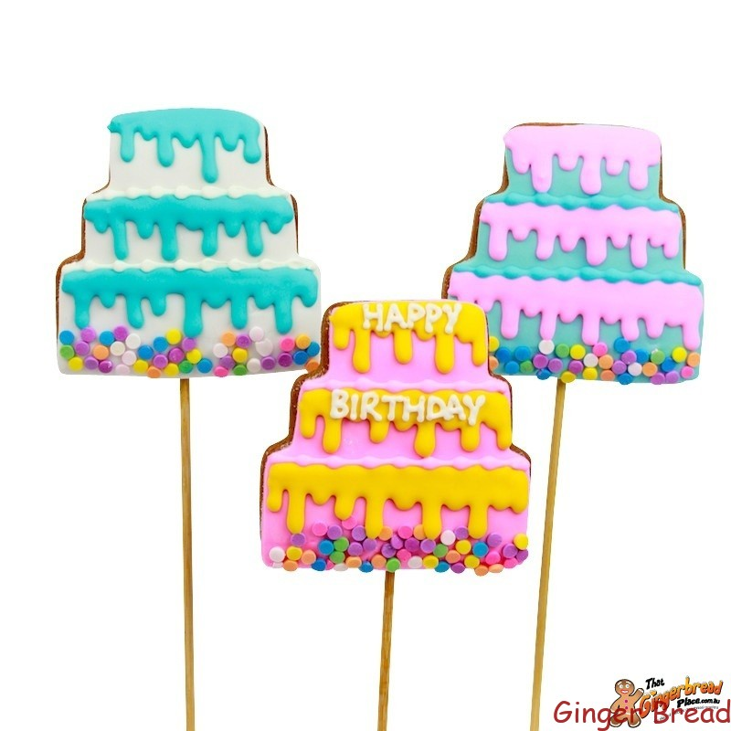Birthday Cake Cookie Pops With Drizzle Pattern