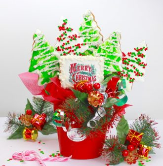 Cookie bouquet xmas tree and red pot 800