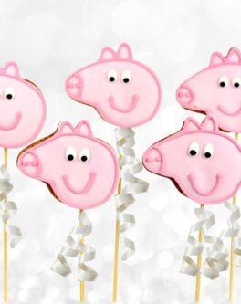 Peppa Pig Head Cookie Pops