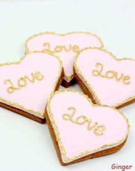 Golden love engagement cookie favours