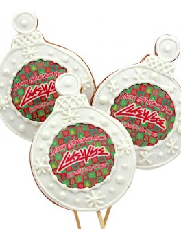 Cookie Pops Christmas baubles with logos