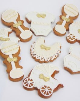 Vintage Baby Cookies gold hand painting