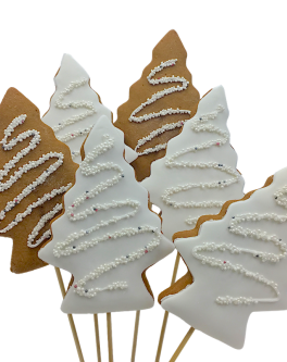 Xmas White Sparkle Trees Cookie Pops