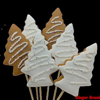 Cookies xmas trees white sparkle