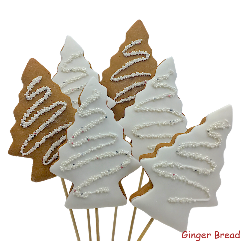 Xmas White Sparkle Trees Cookie Pops Ideal For Christmas Gifts