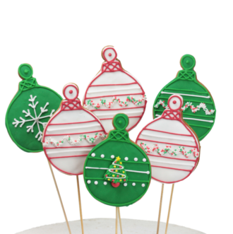 Christmas Cookie pops baubles green