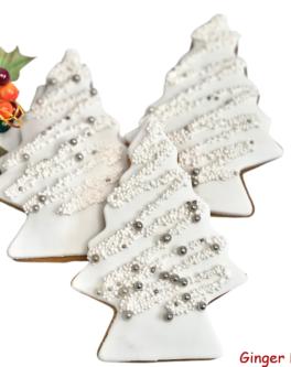 Sparkle White tree cookie favours